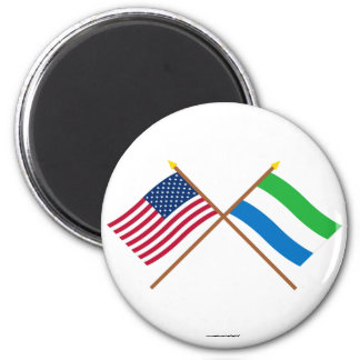 US and Sierra Leone Crossed Flags Refrigerator Magnet