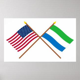 US and Sierra Leone Crossed Flags Print