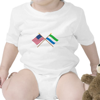 US and Sierra Leone Crossed Flags Tee Shirts