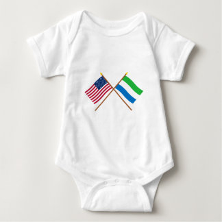 US and Sierra Leone Crossed Flags Tee Shirts