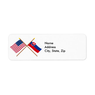 US and Slovakia Crossed Flags Label