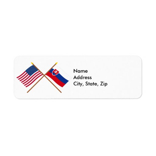 US and Slovakia Crossed Flags Return Address Labels