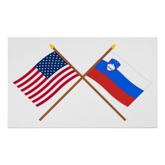 US and Slovenia Crossed Flags Poster