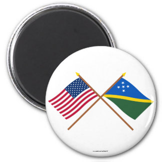 US and Solomon Islands Crossed Flags 2 Inch Round Magnet