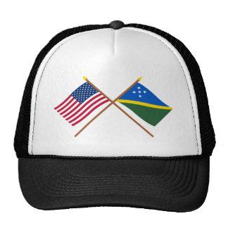 US and Solomon Islands Crossed Flags Trucker Hat