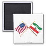 US and Somaliland Crossed Flags 2 Inch Square Magnet
