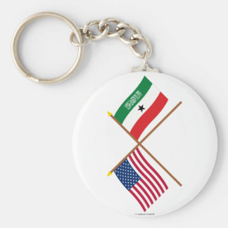 US and Somaliland Crossed Flags Basic Round Button Keychain