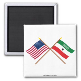US and Somaliland Crossed Flags Refrigerator Magnet