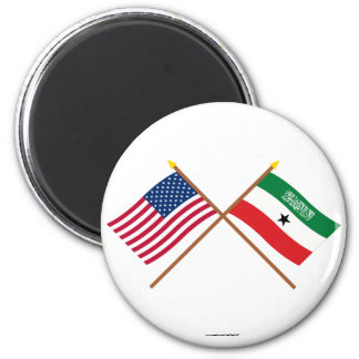 US and Somaliland Crossed Flags Magnet