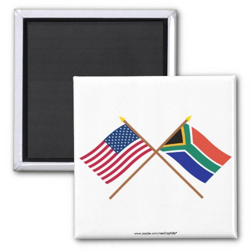 US and South Africa Crossed Flags 2 Inch Square Magnet