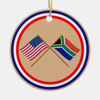 US and South Africa Crossed Flags Ceramic Ornament