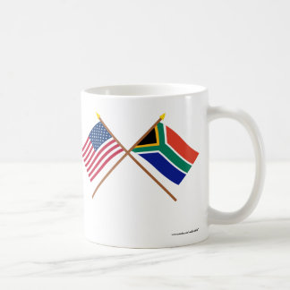 US and South Africa Crossed Flags Coffee Mug