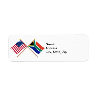 US and South Africa Crossed Flags Label