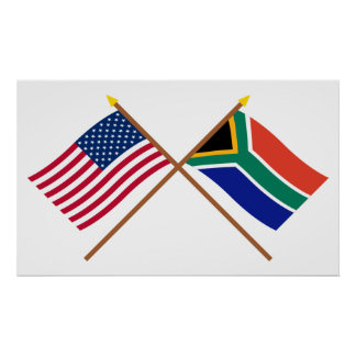 US and South Africa Crossed Flags Poster