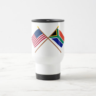 US and South Africa Crossed Flags Travel Mug