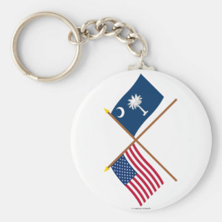 US and South Carolina Crossed Flags Key Chains