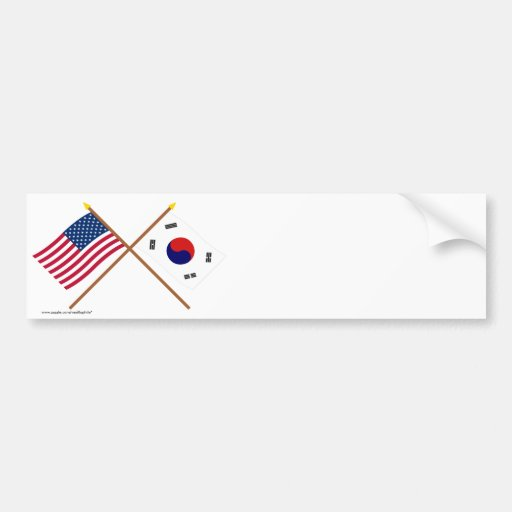 US and South Korea Crossed Flags Bumper Sticker