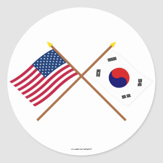US and South Korea Crossed Flags Classic Round Sticker