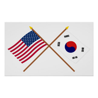 US and South Korea Crossed Flags Poster