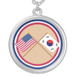 US and South Korea Crossed Flags Round Pendant Necklace