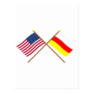 US and South Ossetia Crossed Flags Postcard