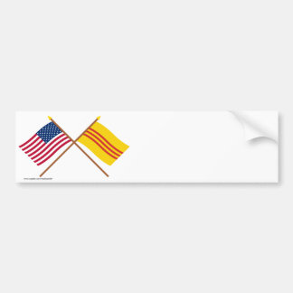 US and South Vietnam Crossed Flags Bumper Sticker