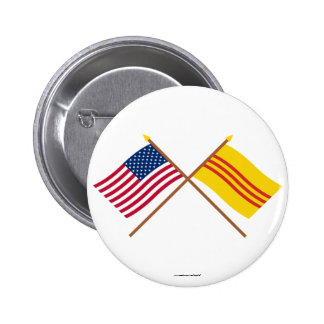 US and South Vietnam Crossed Flags Pinback Button