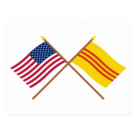 US and South Vietnam Crossed Flags Postcard