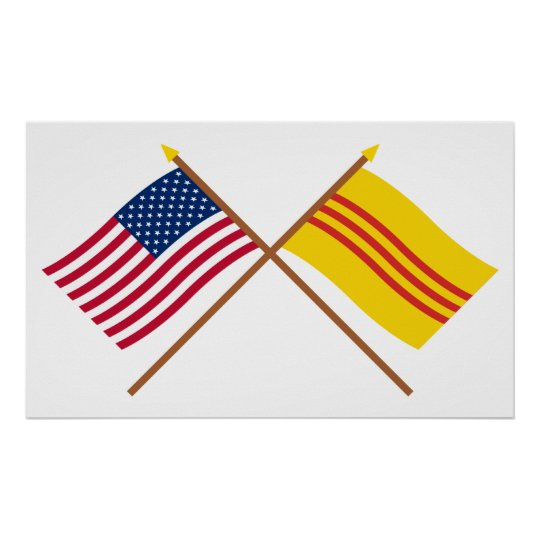 US and South Vietnam Crossed Flags Poster