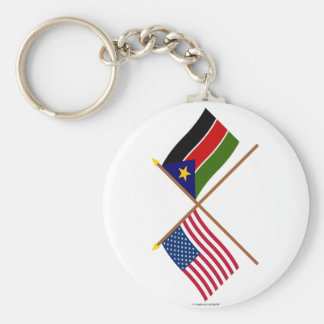 US and Southern Sudan Crossed Flags Basic Round Button Keychain