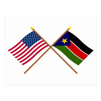 US and Southern Sudan Crossed Flags Postcard