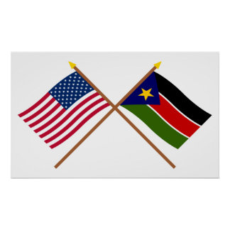 US and Southern Sudan Crossed Flags Poster