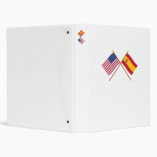US and Spain Crossed Flags 3 Ring Binders