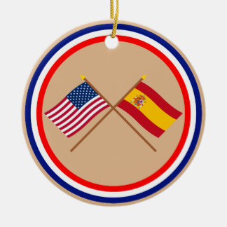 US and Spain Crossed Flags Ceramic Ornament