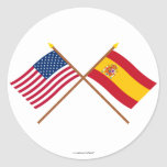 US and Spain Crossed Flags Classic Round Sticker