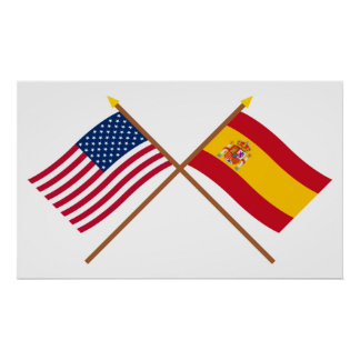 US and Spain Crossed Flags Poster
