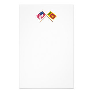 US and Sri Lanka Crossed Flags Stationery