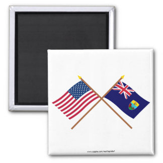 US and St Helena Crossed Flags 2 Inch Square Magnet