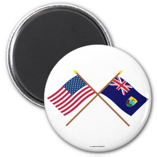 US and St Helena Crossed Flags 2 Inch Round Magnet