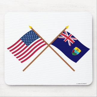 US and St Helena Crossed Flags Mouse Pad