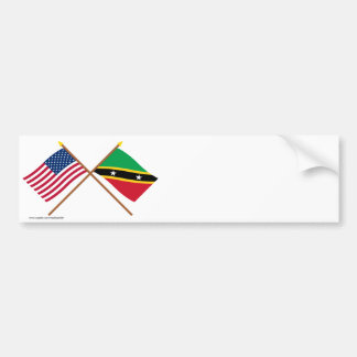 US and St Kitts & Nevis Crossed Flags Car Bumper Sticker