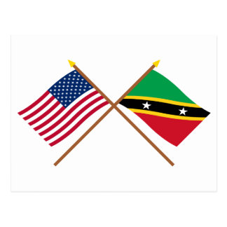 US and St Kitts & Nevis Crossed Flags Postcard
