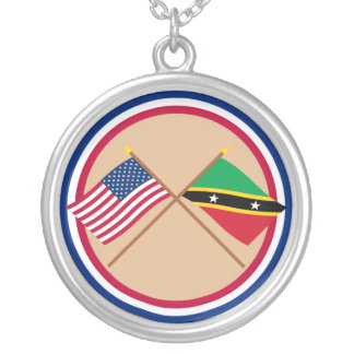 US and St Kitts & Nevis Crossed Flags Round Pendant Necklace