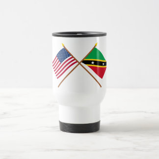 US and St Kitts & Nevis Crossed Flags Travel Mug