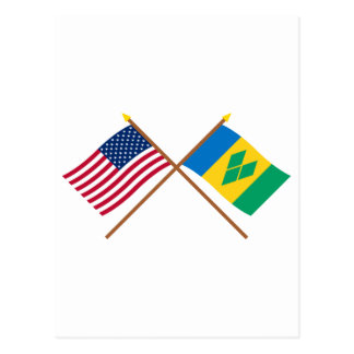 US and St Vincent Crossed Flags Postcard