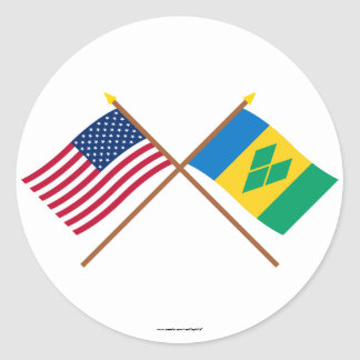 US and St Vincent Crossed Flags Round Sticker