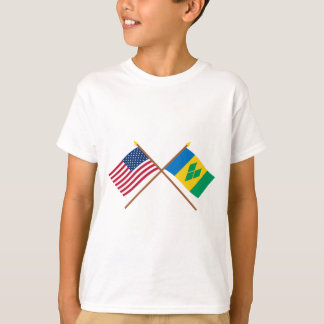 US and St Vincent Crossed Flags T-Shirt