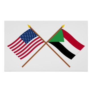 US and Sudan Crossed Flags Poster