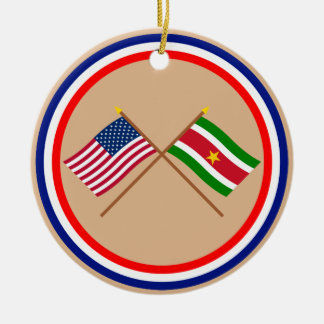 US and Suriname Crossed Flags Christmas Tree Ornament