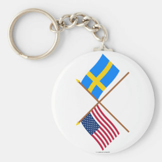 US and Sweden Crossed Flags Basic Round Button Keychain